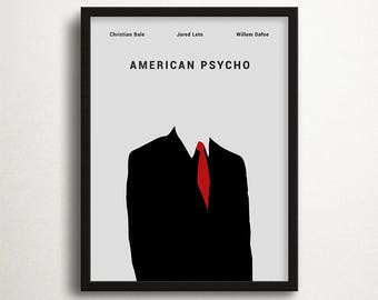 American Psycho Print, Christian Bale, Movie Print, Instant Download, Contemporary Print, Minimalist Print, Movie Art, Movie Poster