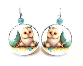 Earrings OWL ● ● cabochon OWL