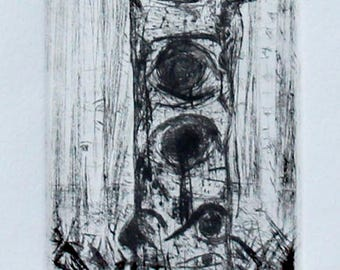 "Drypoint Intaglio Print--""Tunnel Vision"""