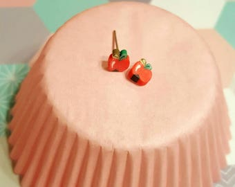 polymer clay Apple slice earrings