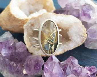 Golden Rutilated Quartz Sterling Ring