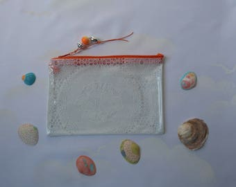"Zippered clear vinyl, waterproof PVC pouch clutch makeup, vintage ""white lace"" Pocket Seal Beach, handmade"