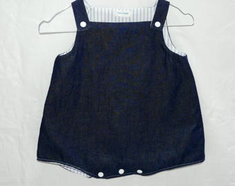 Overalls denim and cotton blue and white stripes