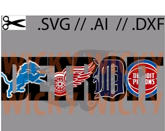 Detroit Teams Knockout SVG // AI // DXF.  Tigers, Red Wings, Pistons, Lions. Layered Vinyl cut file