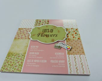 block printed paper with 30 leaves lots of flowers flower scrapbooking 15 cm square