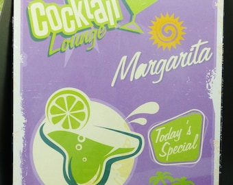 metal plate 30 x 40 cm cocktail lounge margarita purple and green
