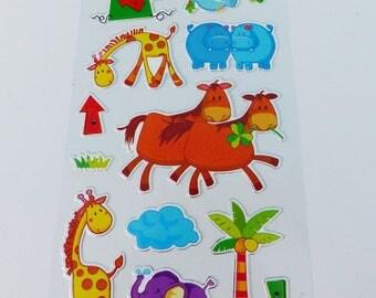 sheet of 13 stickers animals cow giraffe elephant hippopotamus stickers