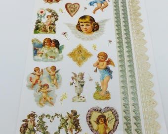 print size A4 Angel Cherub vintage, and glittered and embossed border stickers
