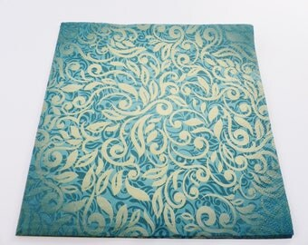 20 paper arabesque green leaf background 33 X 33 cm lunch napkins