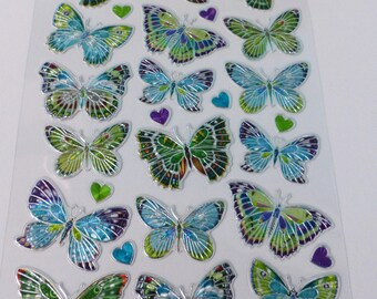30 silver butterfly and blue and green heart quarter stickers