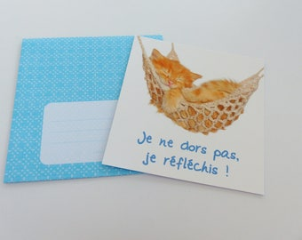 Cat in hammock card I do not sleep, I think! card square with envelope