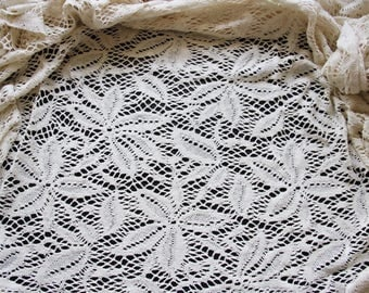 Crochet Ecru flower pattern fabric