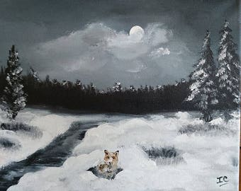 Fox in the snow under a Moonlight