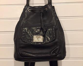 MOSCHINO Redwall Backpack Genuine Vintage Designer Soft Black Leather Snakeskin 90's Bag