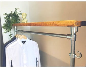 upcycled furniture vintage industrial antique style reclaimed wood scaffold board clothing rail clothes