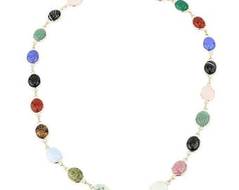 14K Yellow Gold Oval Shaped Scarab Gemstone Necklace