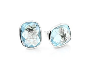 14k White Gold Stud Earrings With Cushion Cut Blue Topaz - Gemstone Studs