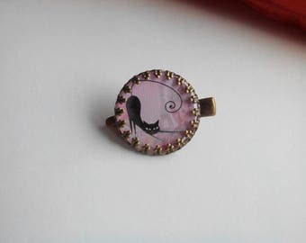 1 hair clip - cabochon 'black cat - pink'
