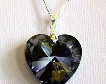 PENDANT heart Silver night Crystal Swarovski element mounted on silver