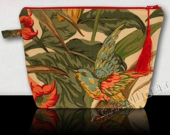"Toiletry bag women. Kit vintage bird/flowers/foliage exotic ""Brugmansia"" green/red/pink/yellow/blue on Beige background."