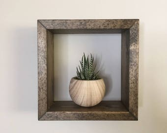 Rustic Solid Wood Square Wall Hanging Shelf