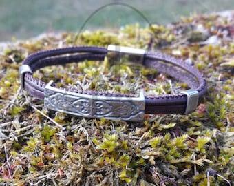 Bracelet man of steel and genuine leather, Oriental motifs