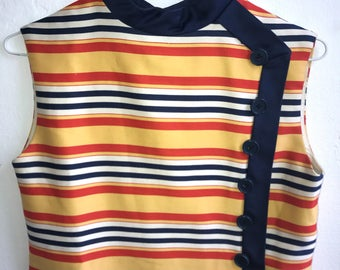 1960's Mod Striped Shift Dress