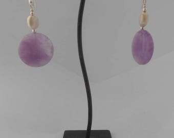 Earrings Amethyst 26 mm and 10 x 8 mm brushed Silver Oval bead