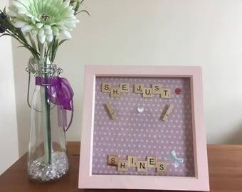 New Baby Girl Gift, New Baby Gift, Baby Shower Gift, Christening Gift, Nursery Gift, Personalised Scrabble Frame
