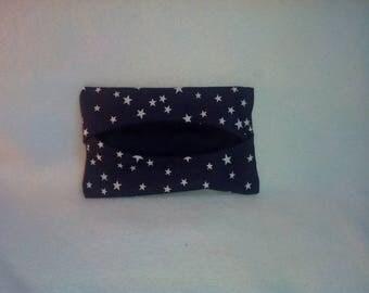 Dark blue white stars tissue holder
