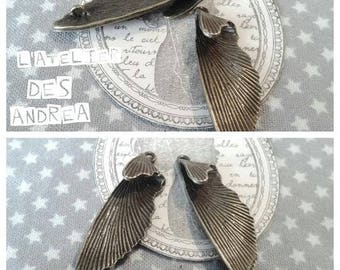 "Lot 2 connectors/pendant ""butterfly wings"" aiton color bronze"