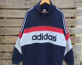 Rare! Vintage Adidas Sweatshirt Big Logo Big Spell Out Jumper Pullover 90s XO Free Size Rare Item