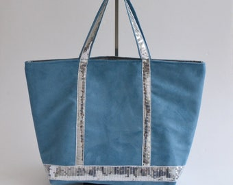 Blue Suede tote bag silver glitters handmade @lacouturebytitia women's fashion