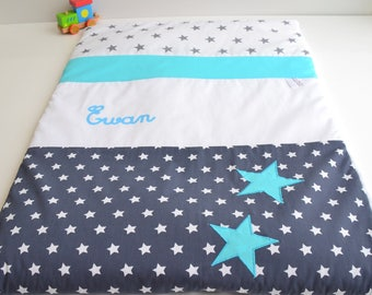 Plaid blanket personalized star @lacouturebytitia Turquoise Blue and Navy blue hand made