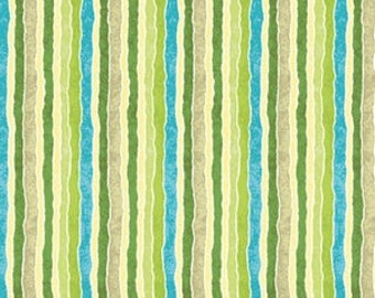 Patchwork fabric Benartex - green and blue - stripes coupon 50 by 110cm