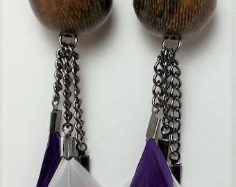 Earrings purple feathers, wood bead, silver chain