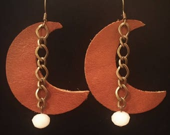 Brown Leather Earrings with Pendant