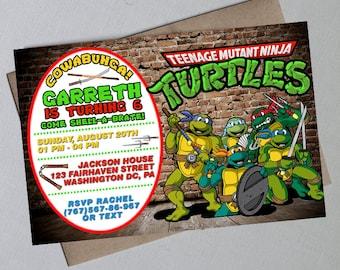 Ninja Turtle Birthday, Ninja Turtle Invitation, Teenage Mutant NinjaTurtle, Ninja Turtle Birthday Invitation