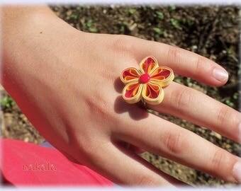 * PROMOTION * unique varnished paper child flower ring