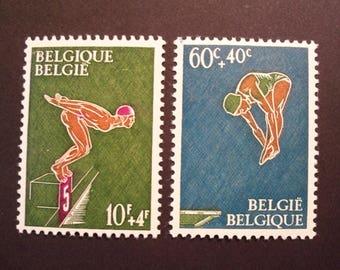 Vintage Belgium Swimmers 1966 Stamp Pair*Complete Set* MH*
