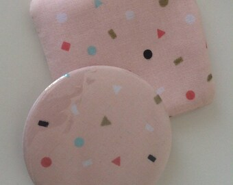 Pocket mirror & pretty pastel pink geometric patterned fabric pouch