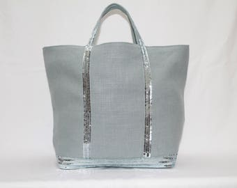 The 100% linen blue Tote with blue sequins