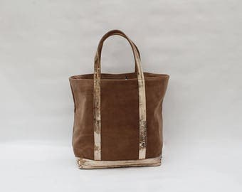 New Tote in Golden caramel toffee suede with sequins