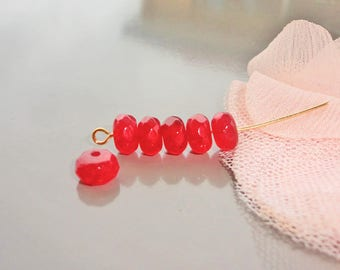 10 Red jade beads, faceted abacus 8 mm x 5 mm