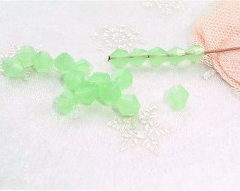 watery green bicone glass beads 6 mm by 20 REF D 6 Czech glass bead silver plated