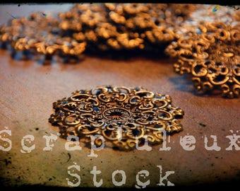 DAHLIA, flower, antique gold, 4.7 cm individually