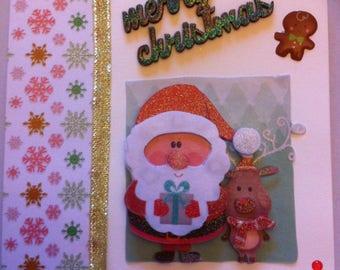 Christmas card 3 D Santa and his reindeer, cream