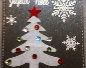 card Christmas tree white felt, bronze base