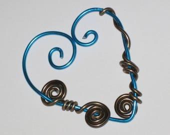Moire turquoise/chocolate heart Aluminium pendant