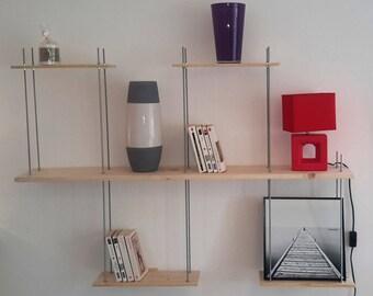 Wall shelf made of metal and wood (pine)